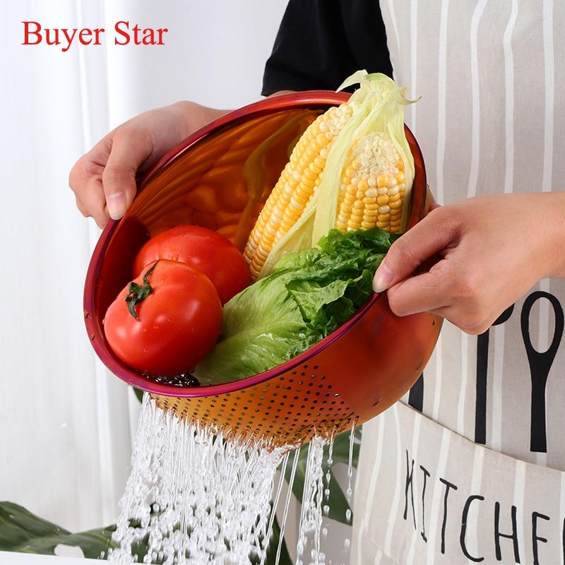 Gold Stainless Steel Rice Washer Drain Basket Kitchen Vegetables Fruit Washing Storage Round Leaking Drainer Home Kitchen Tools