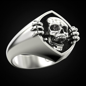 Huitan New Neo-Gothic Style Antique Skull Unisex Finger Ring Punk Women/Men Rings Vintage Party Personality Accessories Jewelry