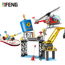 ENLIGHTEN City Fire Rescue Brick sOffshore Drilling Crisis Boat Helicopter Building Blocks Compatible Toys Children Gifts