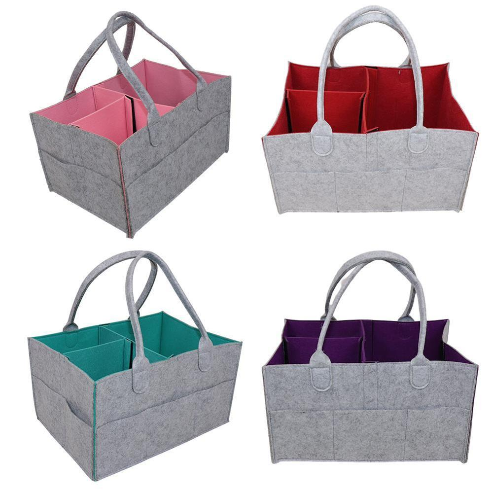 Kids Baby Protable Foldable Felt Diaper Tote Nursery Bag Multi-functional Clothes Stuff Caddy Diaper Storage Organizer Pouch New