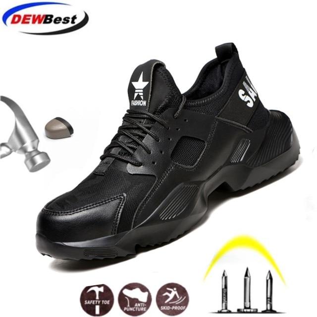 Dewbest 불멸의 라이더 신발 남성과 여성 강철 발가락 공기 안전 부츠 펑크 방지 작업 스니커즈 통기성 신발