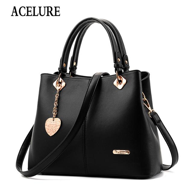 Brand Women Hardware Ornaments Solid Totes Handbag High Quality Lady Party Purse Casual Crossbody Messenger Shoulder Bag ACELURE