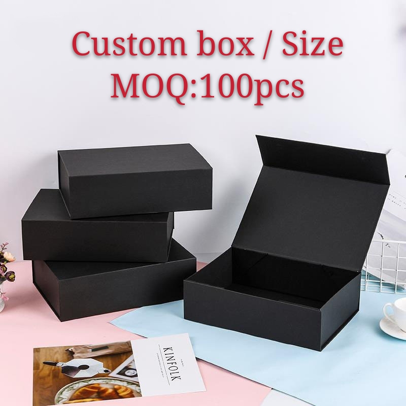 10Pcs/Lot Custom gift boxes Plain Paperboard Folding rigid box Magnetic available packaging hair wigs cosmetic gift box