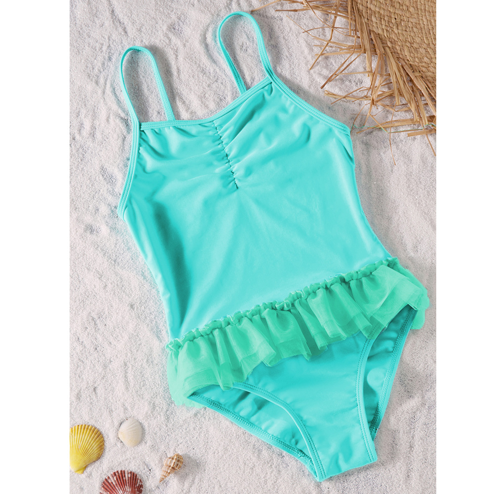 KID'S Swimwear GIRL'S Camisole Pleated Girls Solid Color Big Boy Tour Bathing Suit One-piece Swimwear TZ410015