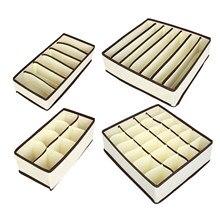 Organiseur de sous-vêtements avec diviseur de tiroir, boîtes de rangement pliables pour placard avec 6/7/8/24