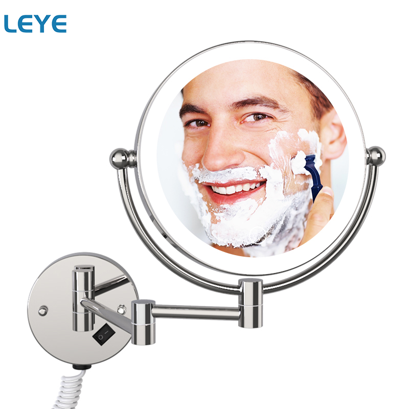 Miroir de salle de bain LED fixé au mur 8 pouces 5X grossissant miroir de maquillage illuminé