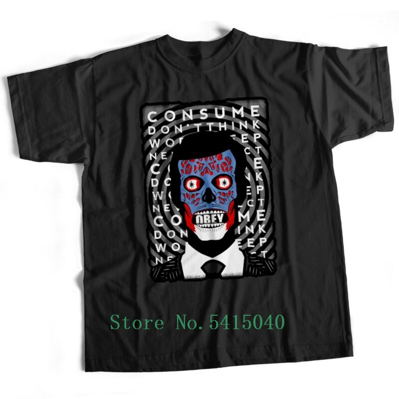 They Live Disobey Vendetta Conspiracy Film Movie Horror Scary Trump T Shirt Design T Shirt Man Cool Men's T-Shirt Printed O-Neck image