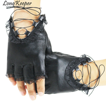 Punk Cool Women Half Finger Gloves Lady Sexy Disco Dance Costume Lace Fingerless Gloves Driving Gloves Genuine Leather Mittens 2020 new summer women gloves short style lady genuine leather glove fashion dance driving half palm five finger gloves ns08