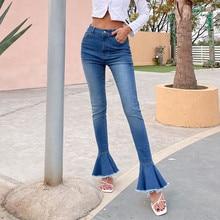 Nowa kolekcja moda damska spodnie dzwony dziewczyny wysokiej talii dżinsy dopasowane spodnie długie spodnie na wiosnę jesień XS/S/M/L