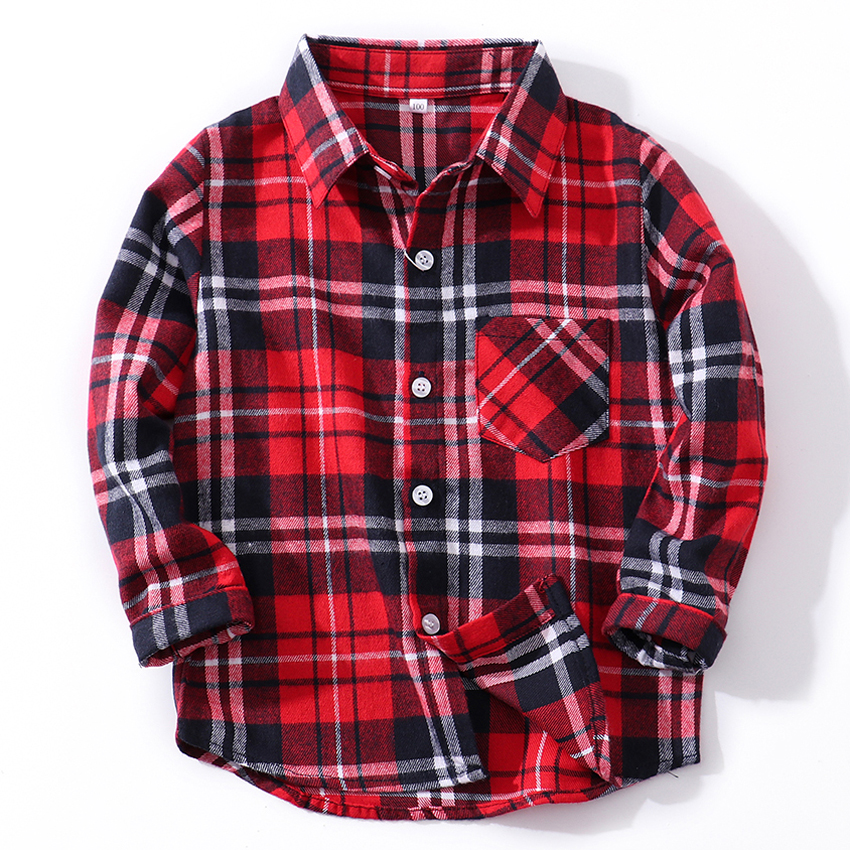 Long Sleeve Cotton Baby Boys shirts for Girls British Plaid children Shirts kids school Blouse red top tee clothes Kids Outfit