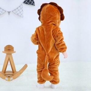 Image 4 - Детская Пижама комбинезон Kigurumis с животными, мягкая Пижама с изображением Льва, забавная одежда для сна для новорожденных, детский комбинезон, костюм для младенцев