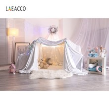 Laeacco Baby Room Decor Curtain Tent Lamp Carpet Bear Photography Backgrounds Customized Photographic Backdrops For Photo Studio(China)