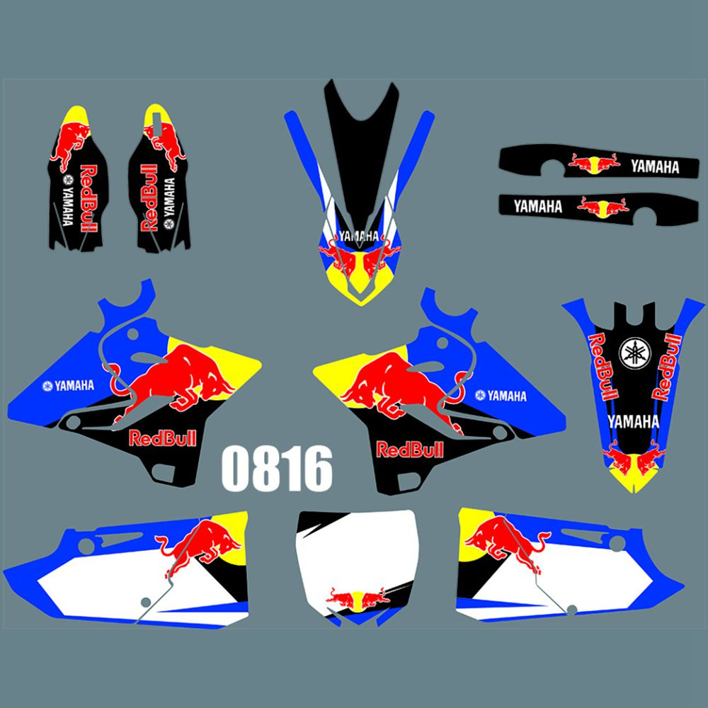 For YAMAHA YZ125 YZ250 2015 2016 2017 2018 2019 Bull Full Graphics Decals Stickers Kit Custom Number Name Glossy Stickers