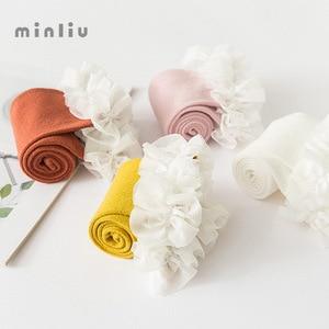 Image 4 - Dziewczynek podkolanówki koronki oddychające skarpetki dla dziewczynek bawełniane stałe słodkie kolana wysokie skarpety zimowe utrzymać ciepłe jednolity rozmiar 1.3kg #43