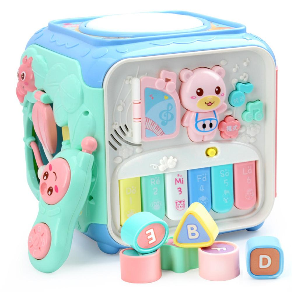 Baby Hexahedral Cube Toy Hand Drum Piano Music Phone Pairing Beads Gear Playing Toys Activity Cube Toys For Children