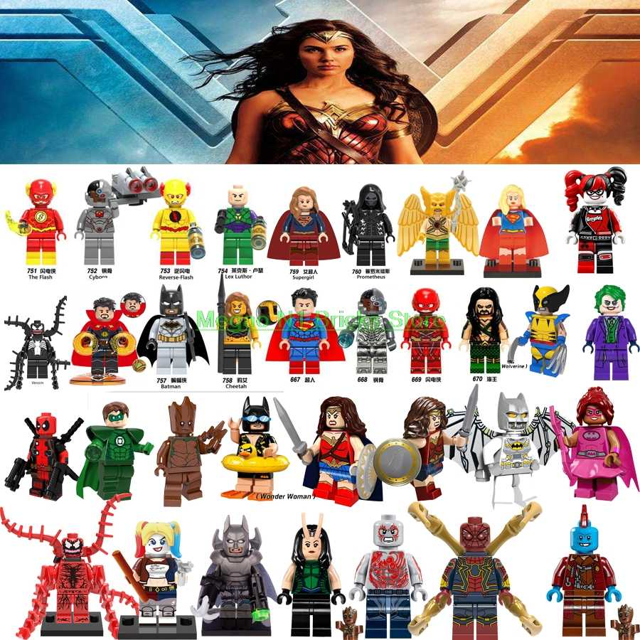 MARVEL แฟลช Avengers BAT SUPER JOKER Wolverine Batman Wonder Woman Harley Quinn VENOM Deadpool Building บล็อกของเล่นรูป
