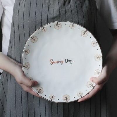 Céramique Style ethnique série bohème plaque dentelle Style européen fruits occidentaux Snack pâtisserie plaque ménage grande vaisselle