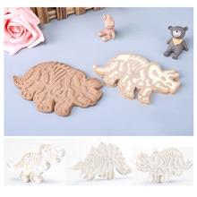 Molde cortador de biscoitos 3d de dinossauro, 3 unidades, forma de relevo para decoração de bolo, sobremesa, confeitaria, silicone ferramenta