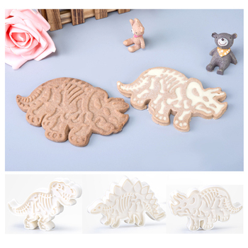3PCS Dinosaur Cookies Cutter Mold 3D Dinosaur Biscuit Embossing Mould Sugarcraft Dessert Baking Silicone Mold Cake Decor Tool