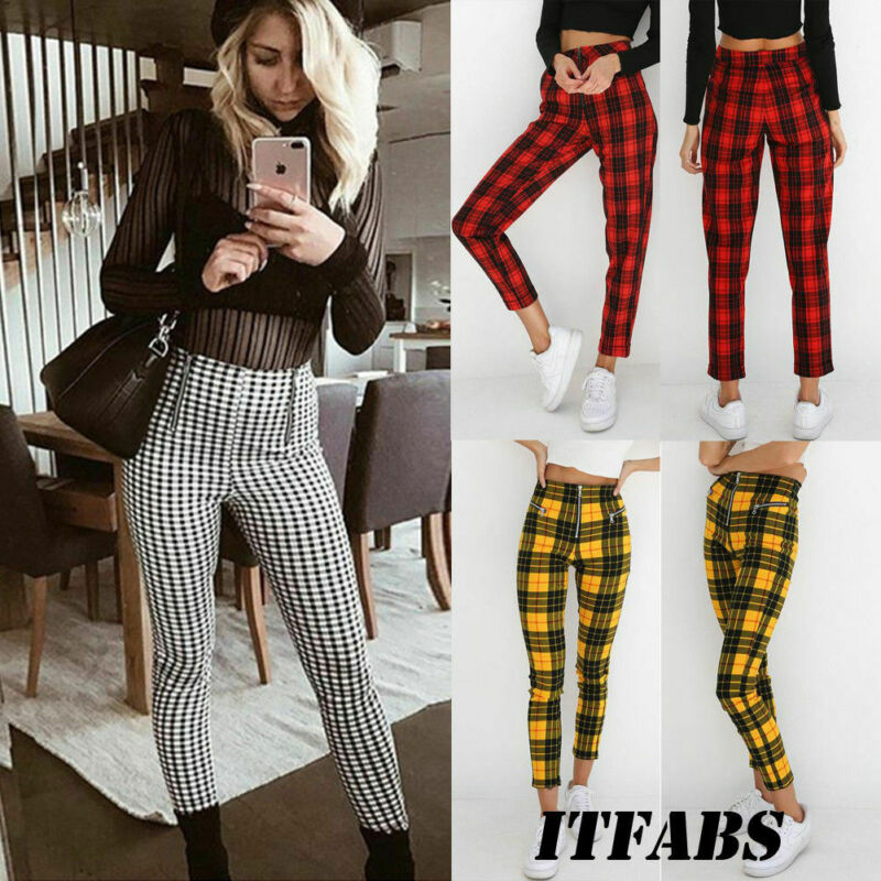 Classic Plaid Pants Women Zipper Skinny Denim Office Casual High Waist Jeggings Pencil Pants Trouser Streetwear