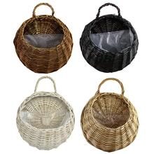 Natural Wicker Rattan Hanging Basket Flower Pot Hand Made Plant Holder Laundry Vase Container Home Decoration