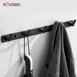 Rovogo cabide rack com 3/4/5/6 ganchos fixado na parede, metal casaco gancho ferroviário para casaco chapéu toalha bolsa robes banheiro entrada