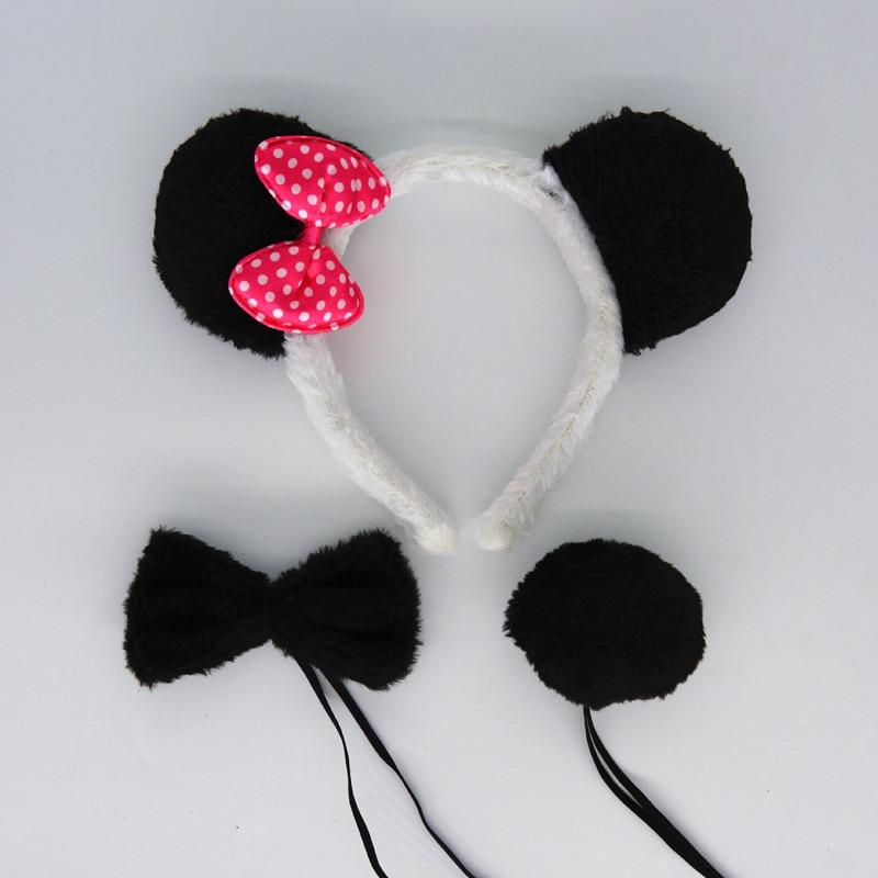 Детская повязка на голову с ушками животных для мальчиков и девочек; комплект с галстуком-бабочкой и хвостом для детей и взрослых; карнавальный костюм; вечерние аксессуары для волос - Цвет: 7