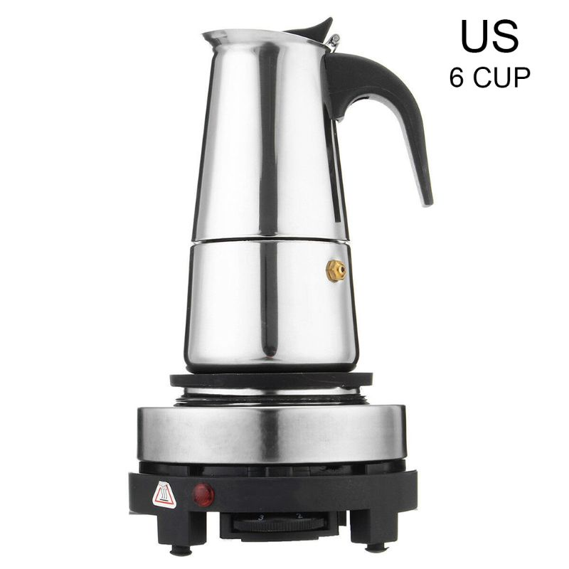 4/6Cup Coffee Maker Pot Espresso Latte Percolator Electric Stove Home Office Kit U1JE