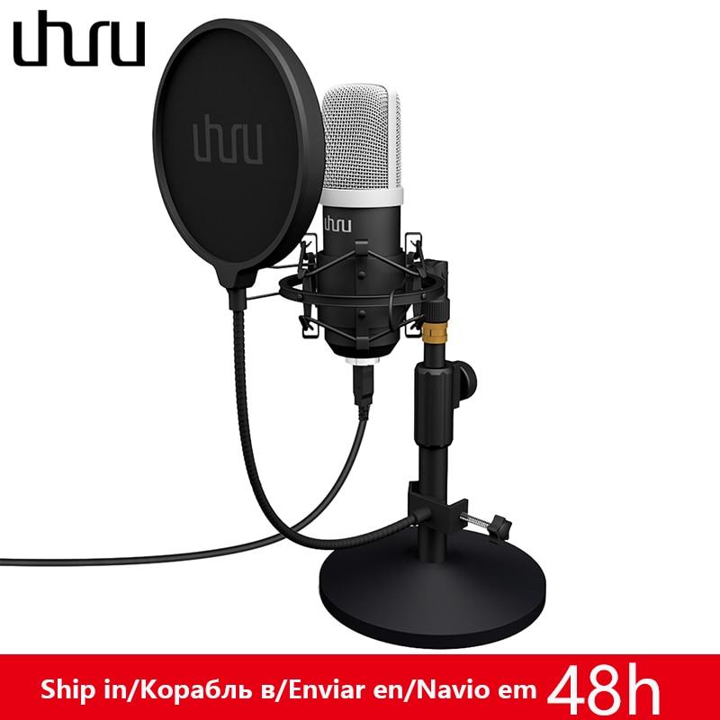 UHURU UM910 micrófono USB 192 kHz/24Bit condensador Podcast Mikfofon Plug & Play y micrófono para ordenador para juegos Youtube Grabación de voz