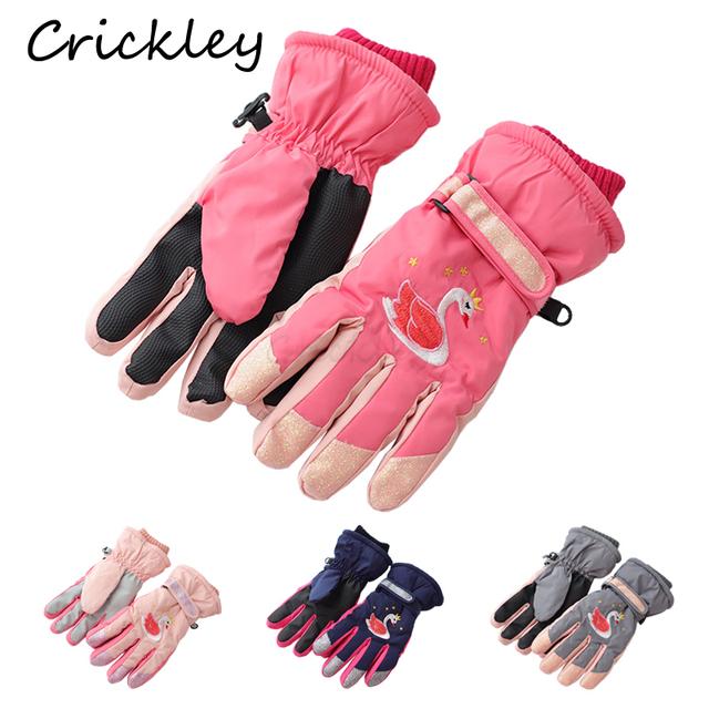 Moda zima łabędź jednorożec haft dzieci rękawiczki pełne palec narciarstwo chłopcy dziewczęta rękawiczki antypoślizgowe pluszowe ciepłe rękawiczki dla dzieci tanie i dobre opinie Crickley CN (pochodzenie) POLIESTER koralowy polar Polyester Unisex