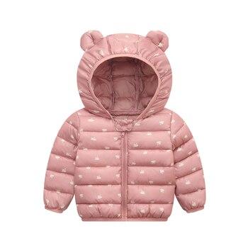 Kid Down Coats Infant Snow Wear Hooded Baby Girls Boys Cartoon Print Jackets Autumn Winter Warm Outerwear Children Clothes цена 2017