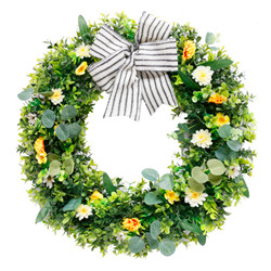Easter decoration Front Door Wreath Simulation Flowers vines Leaves Grid Bowknot Spring Wreath for Easter Ornament home decor