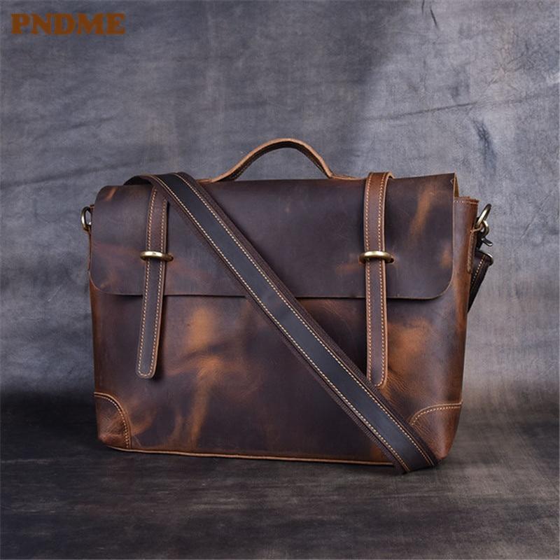 PNDME Simple Vintage Genuine Leather Men's Briefcase Crazy Horse Cowhide Designer Messenger Bags Business Lawyer Laptop Bag