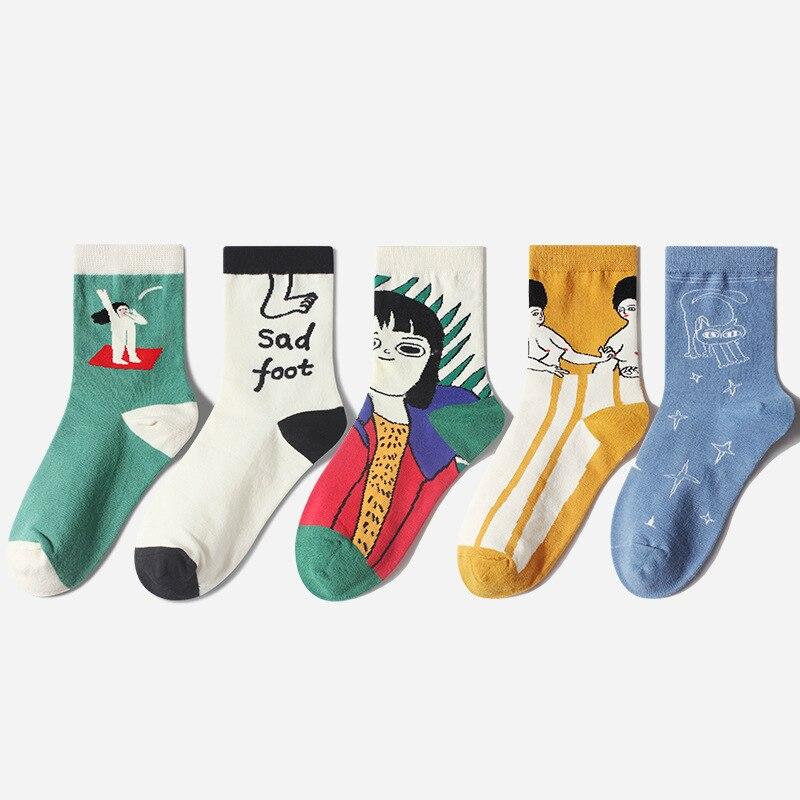 1 пара мужские хлопковые носки с круглым вырезом модные креативные забавные носки унисекс с рисунками из мультфильмов в японском стиле женские носки средней длины Носки      АлиЭкспресс
