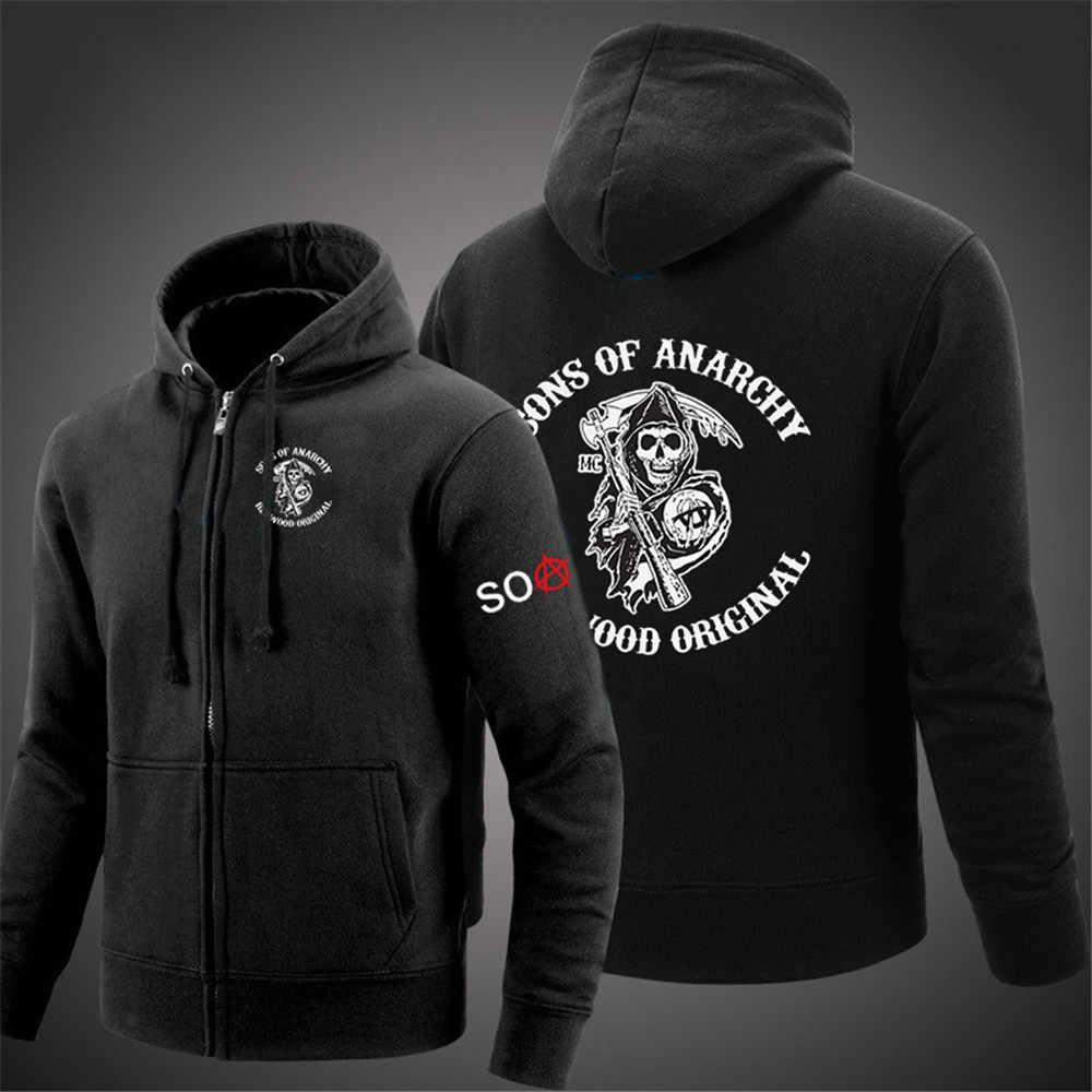 Primavera homem sons of anarchy hoodies impressão mulher zíper jaquetas camisolas soa punk casacos de carne streetwear sólido unissex agasalho