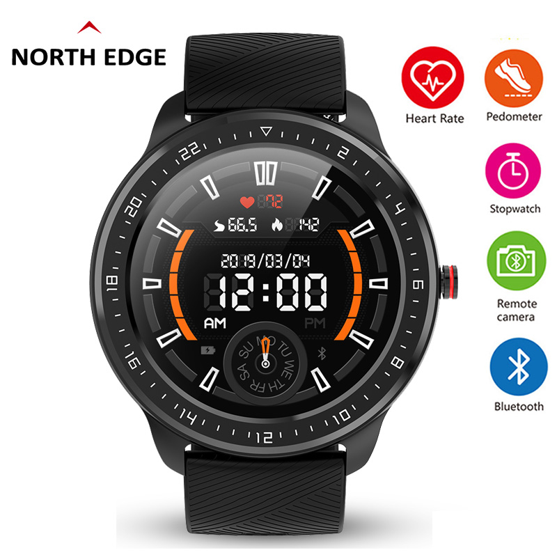NORTH EDGE Smart Watch Men IP68 Waterproof HD Display Full Screen Touch SmartWatch With Heart Rate Blood Pressure Sports Fitness