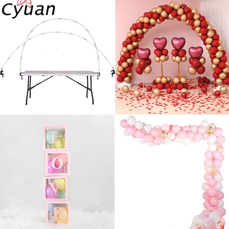 Cyuan Balloon Arch Garlands Kits Plastic Column Stand Balloon Box Latex Ballons Chain Clips For Birthday Wedding Party Decor