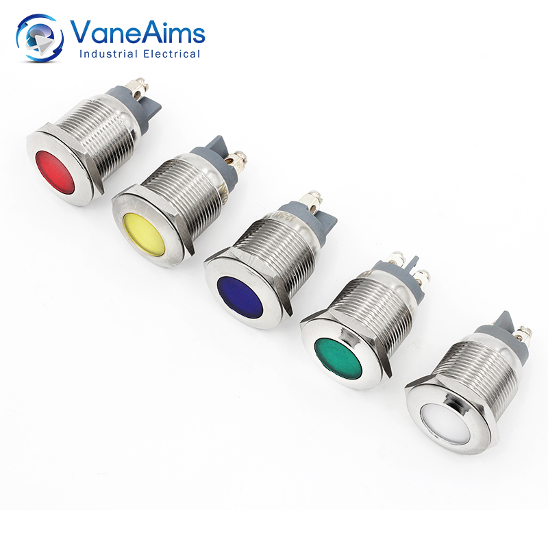 Led Metal Indicator Light Red Green Blue White Waterproof Power Light 6V12V24V20V Signal-lamp 1PCS Warning Indicator Light 19MM