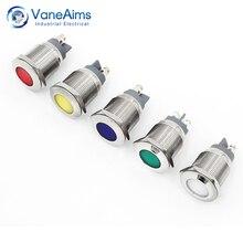 цена на led metal indicator light red green blue white Waterproof Power light 6V12V24V20V Signal-lamp 1PCS Warning Indicator Light 19MM