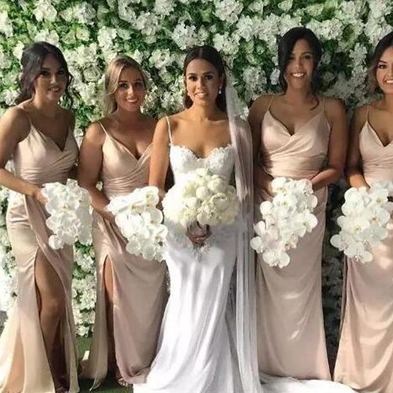 Blush Pink Long Bridesmaid Dresses 2020 Spaghetti Straps Side Split Maid Of Honor Gowns Mermaid Wedding Guest Dress Custom Made