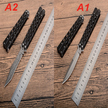 GOOD 2 Color Butterfly Trainer Knife 440 Blade Training Knives steel Handle Pocket Swing Knife Outdoor Camping Hunting knifes