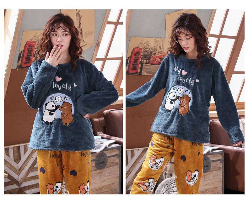 Long Sleeve Warm Flannel Pajamas Winter Women Pajama Sets Print Thicken Sleepwear Pyjamas Plus Size 3XL 4XL 5XL 85kg Nightwear 356
