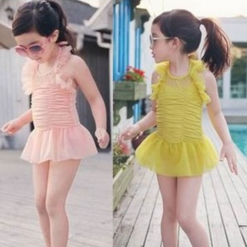 New Style KID'S Swimwear Dress-Super Q Lace Flesh Color WOMEN'S Swimsuit One-piece Swimsuit For Children Swimming Trunks