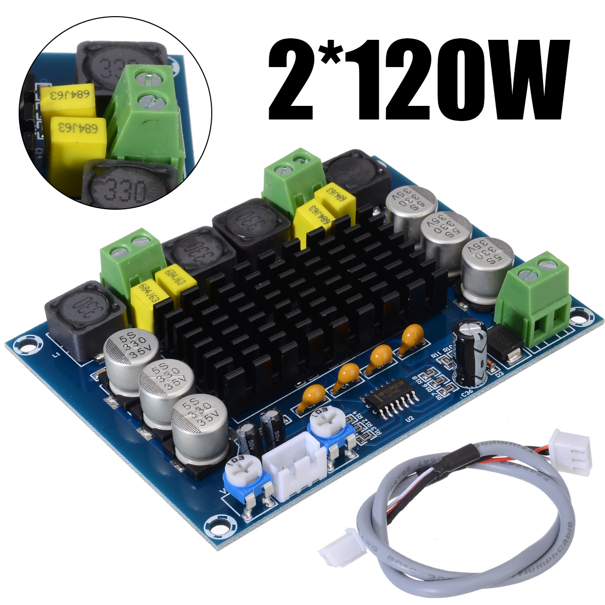 New TPA3116D2 Dual channel Amplifier Boards 2x120W High Power Digital Audio Power AMP Board DC 12 26V For Speaker-in Amplifier from Consumer Electronics