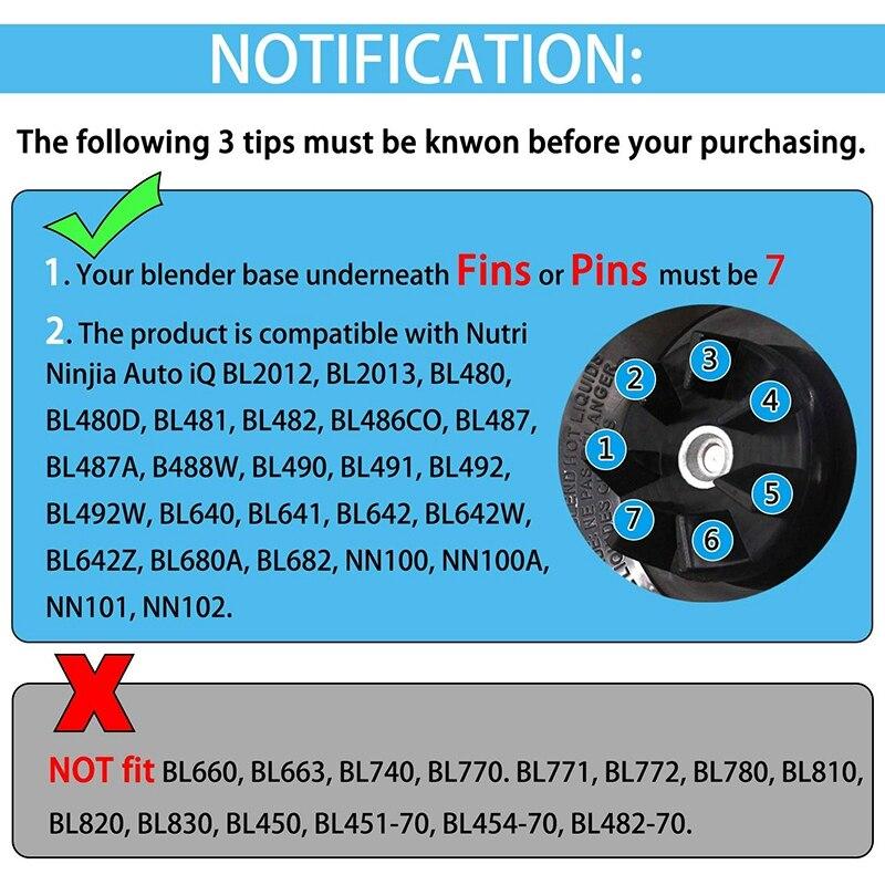 Black Replacement Parts Ninja Bottom suitable for Nutri Ninja Auto iQ BL482 BL642 NN102 BL682 BL2013 Nutri Ninja Blender Auto iQ Blade