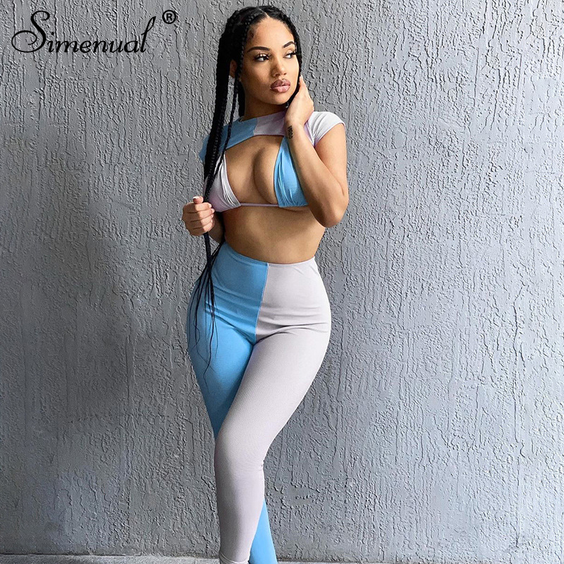 Simenual Patchwork Sexy Club Women Three Piece Sets Sleeveless Bodycon Fashion Outfits Party Crop Top And Leggings Co-ord Set
