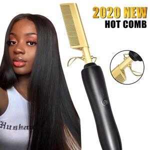 Electric Hot Comb Heating Comb Straightener Flat Iron Hair Straightening Brush Hair Curler Brush Professional Hair Straighteners