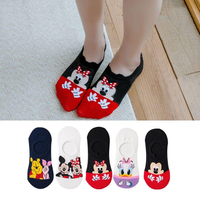 5 Pairs Summer Socks Cotton Invisible Socks Cartoon Animal Mickey Mouse Duck Funny Ankle Socks Women Socks Boat Sock Size 35-40 1