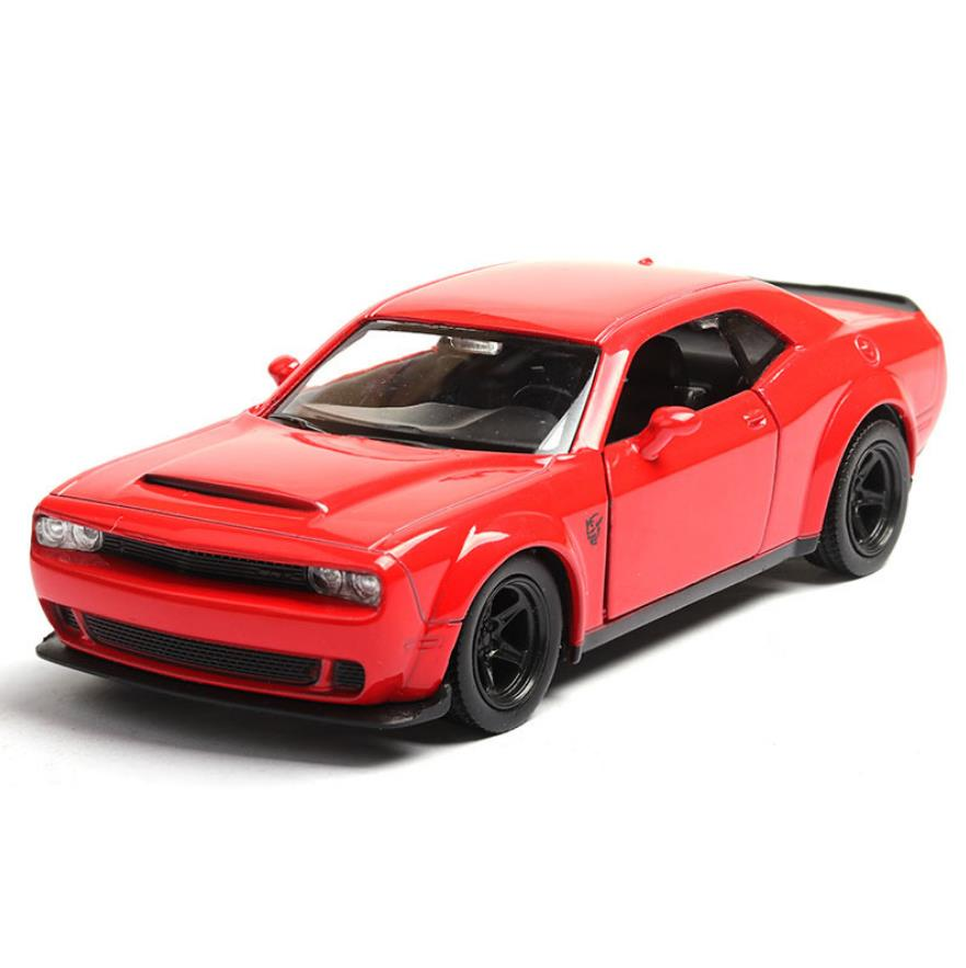 Hot 1:36 scale Dodge Challenger wheel diecast Muscle car metal model pull back vehicle alloy toys collection image