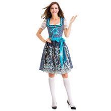 Vrouwen Oktoberfest Kostuum Beierse Bier Meisje Drindl Tavern Meid Jurk Korte Mouwen Casual Black Party Dress Womens Vestidos Lw(China)